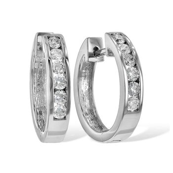Diamond Hoop Earrings Channel Set