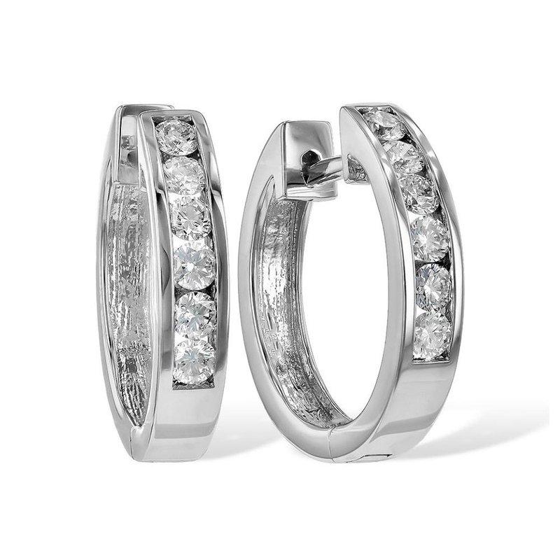 King's Diamond Hoop Earrings Channel Set