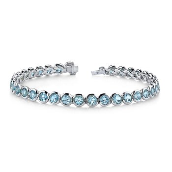 Blue Topaz Bezel Set Bracelet