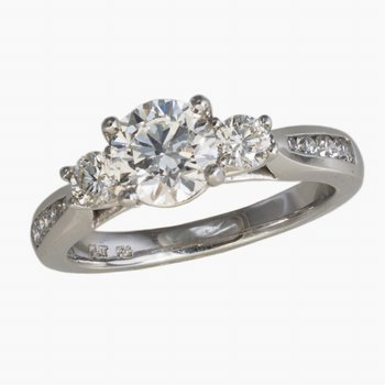 Platinum Diamond Engagement Ring 1.01ct  w/2 Diams