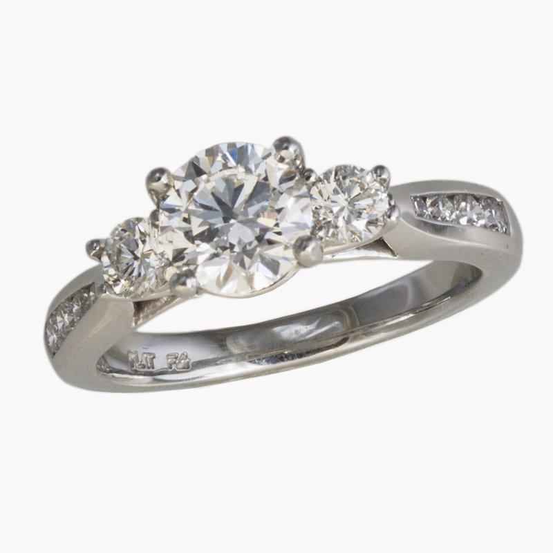 King's Bridal Platinum Diamond Engagement Ring 1.01ct  w/2 Diams