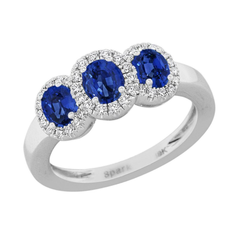 King's 18kt Wh Three Oval Sapphire and Diamond Halo Ring