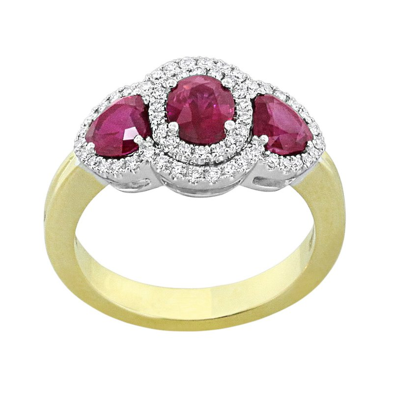 King's 18kt Yel Three Stone Ruby and Diamond Ring