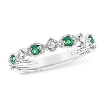 Emerald and Diamond Thin Band