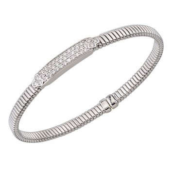 18kt Cuff Bracelet w/Diam Plate .55tw