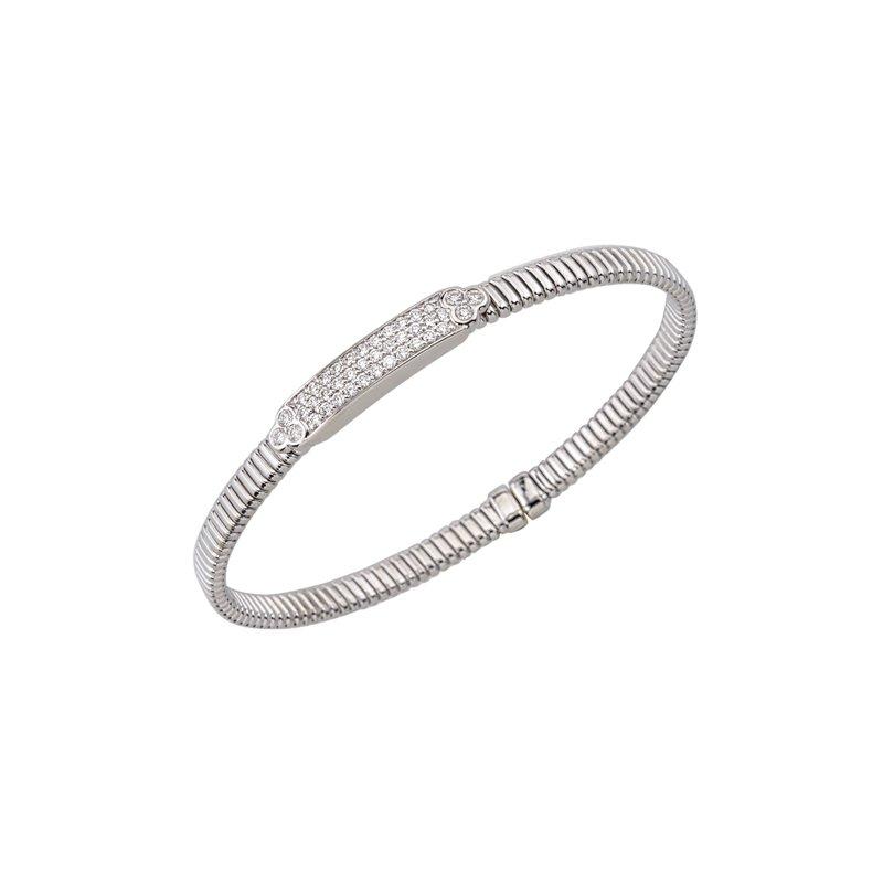 King's 18kt Cuff Bracelet w/Diam Plate .55tw