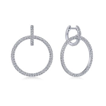 14kt Wh Circle Dangle Diamond Earrings