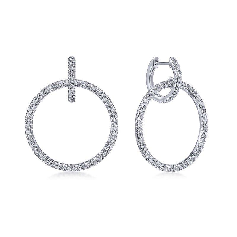 King's 14kt Wh Circle Dangle Diamond Earrings