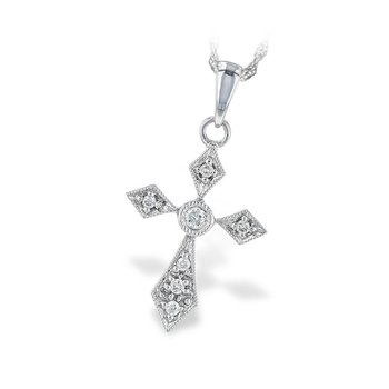"14kt Wht Diamond Cross Pendant 18"" Chain"