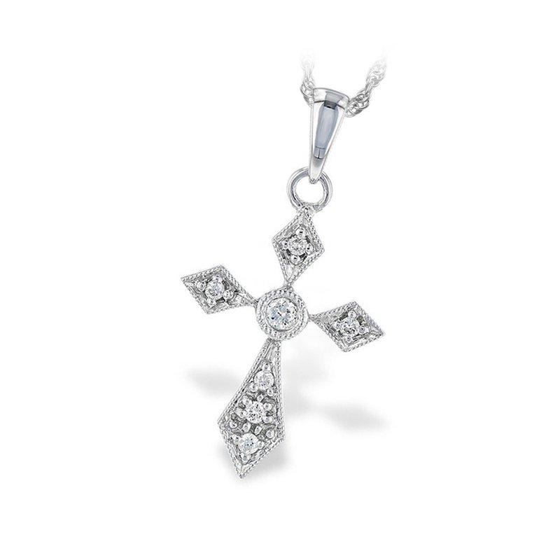 "King's 14kt Wht Diamond Cross Pendant 18"" Chain"