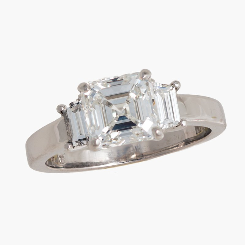 King's Bridal Diamond Asscher 1.82ct Engagement Ring
