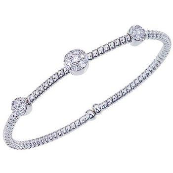 18kt Cuff Bracelet with 3 Round Stations = .40tw