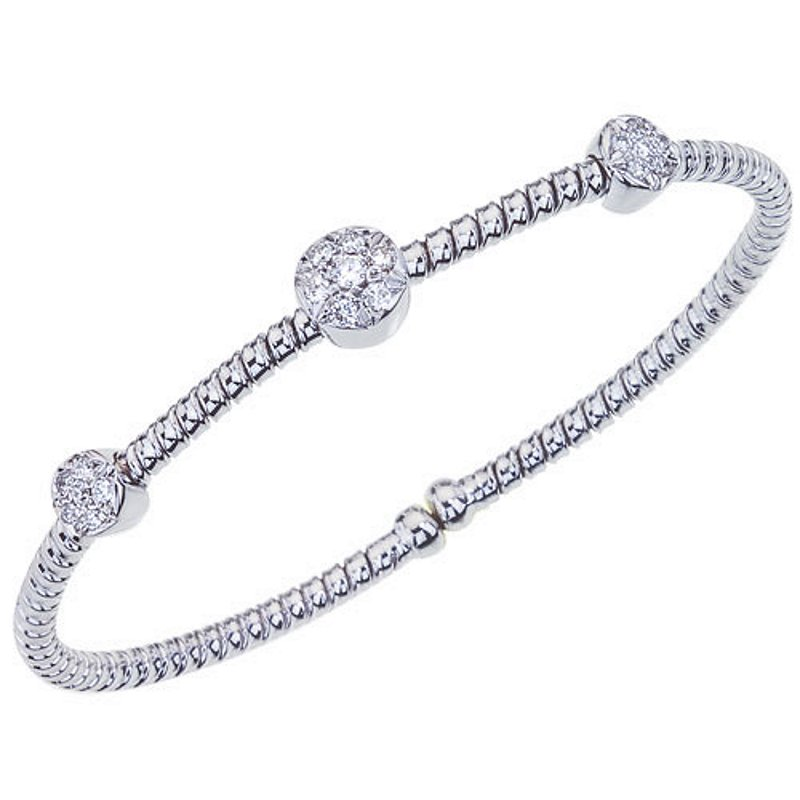 King's 18kt Cuff Bracelet with 3 Round Stations = .40tw
