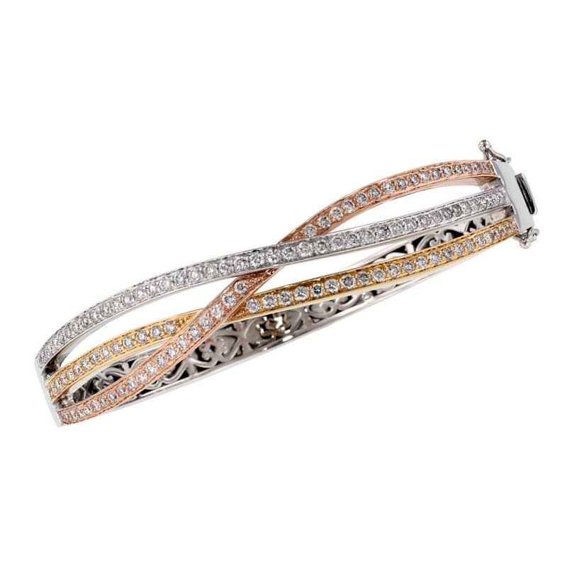 King's Tri-Color Diamond Bangle Bracelet