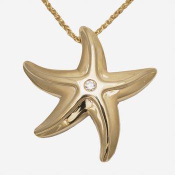 """14kt Yel Starfish Pendant w/.07ct Diamond 18"""" Chain"""