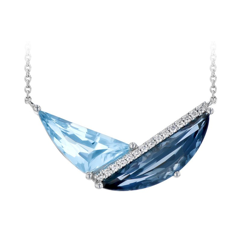 King's London and Sky Blue Topaz Necklace with Diamonds