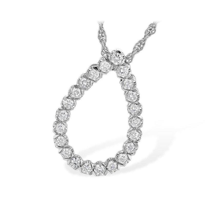 King's 14kt Wh Gold Diamond Teardrop Pendant .50tw