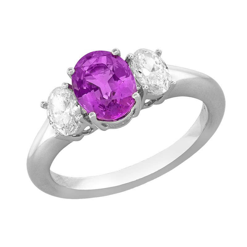 King's Oval Pink Sapphire and Diamond Three Stone Ring