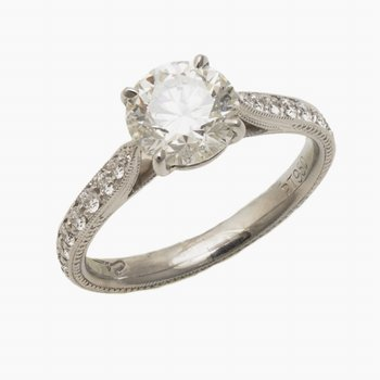 Plat Diamond Engagement Ring 1.45ct w/Diams in Channel