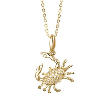 "Diamond Blue Crab Pendant .12tw 18"" Chain"