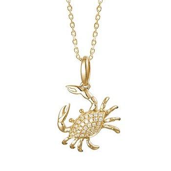 "Diamond Blue Crab Pendant .12tw 18"" Chain"