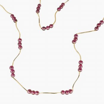 14kt Yel Gold and Garnet Bead Necklace 20""