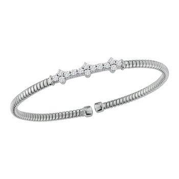 18kt Wht Gold Cuff Bracelet with 14Diams =.70tw