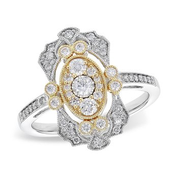 14kt Wht/Yel Gold Diamond Antique Filigree Diamond Ring