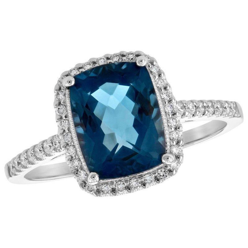 King's London Blue Topaz and Diamond Halo Ring