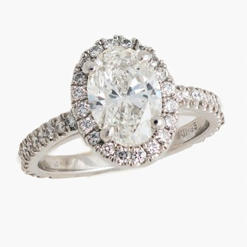 Oval Diamond Halo Engagement Ring 2.19tw