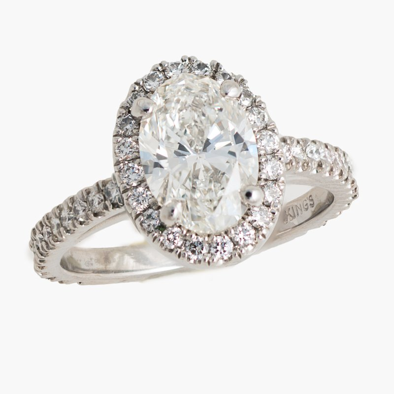 King's Bridal Oval Diamond Halo Engagement Ring 2.19tw