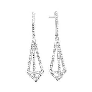 14kt Wht Diamond Dangle Earrings