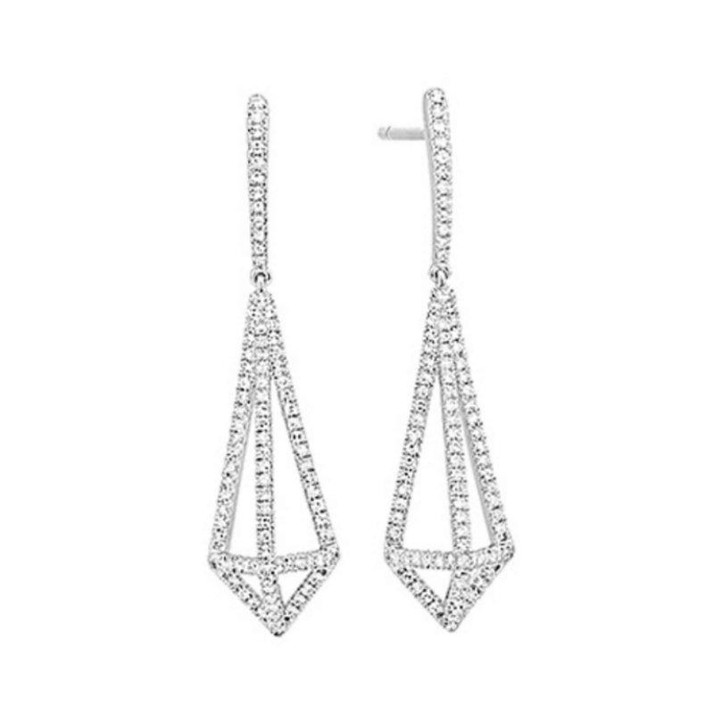 King's 14kt Wht Diamond Dangle Earrings