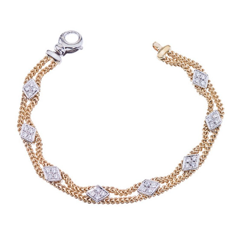 King's Cable Bracelet with Diamond Stations