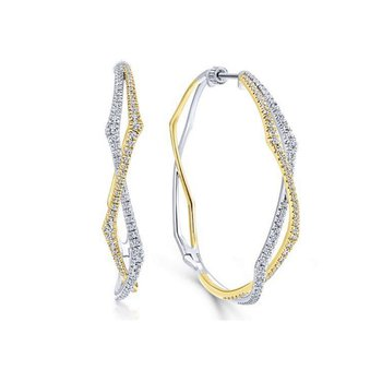 14kt Yel & White Gold Large Diamond Hoop Earrings