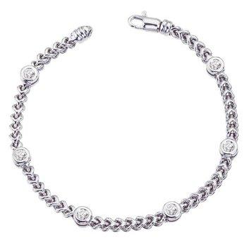 White Gold Braided Bracelet w/Diamond Stations .50tw