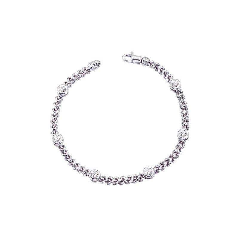King's White Gold Braided Bracelet w/Diamond Stations .50tw