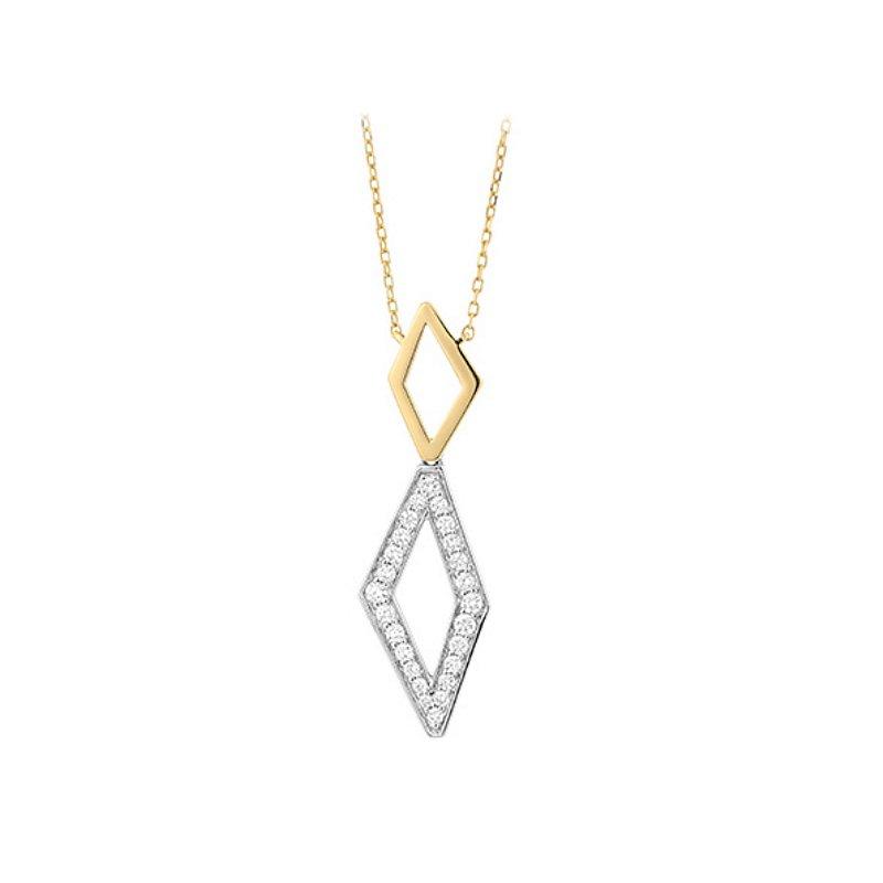 King's 14kt Geometric Diamond Pendant