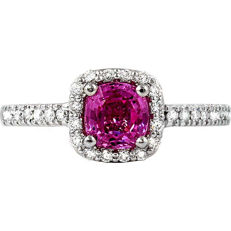 King's Pink Sapphire and Diamond Halo Ring