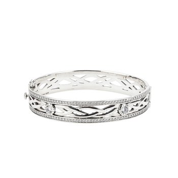 Sterling Bangle Brace with CZ Accents
