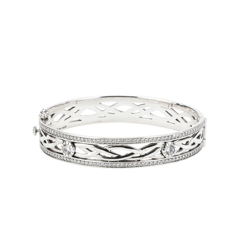 Keith Jack Sterling Bangle Brace with CZ Accents