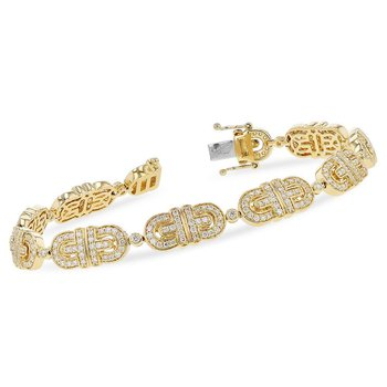 Yellow Gold Diamond Link Bracelet 2.00tw