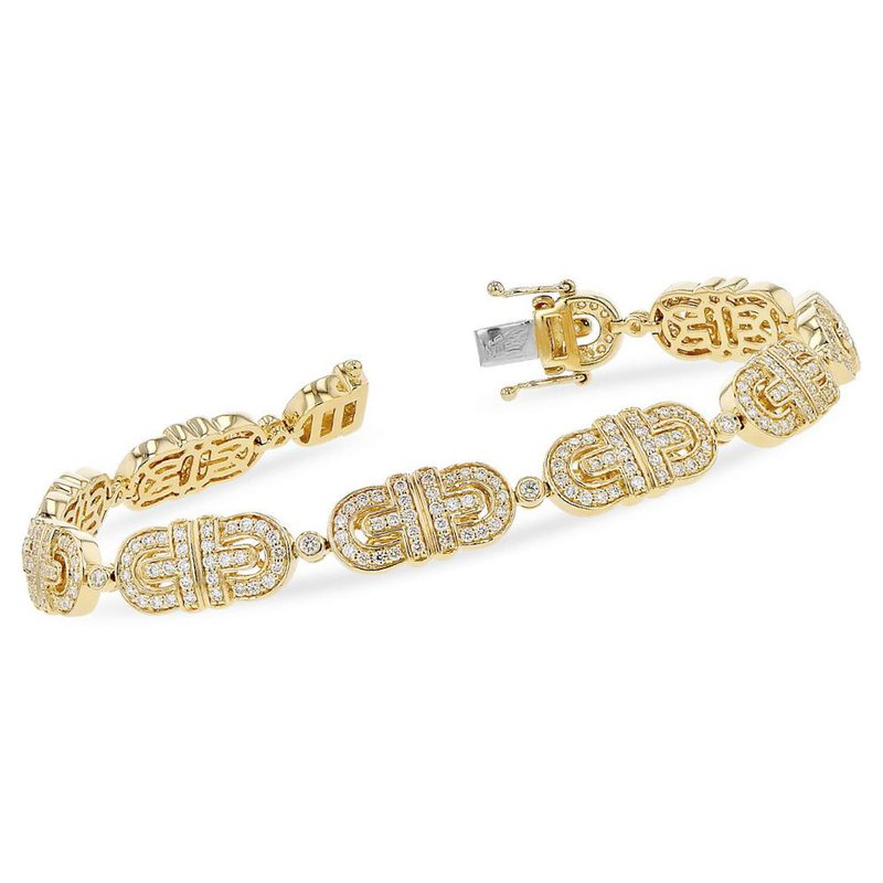 King's Yellow Gold Diamond Link Bracelet 2.00tw