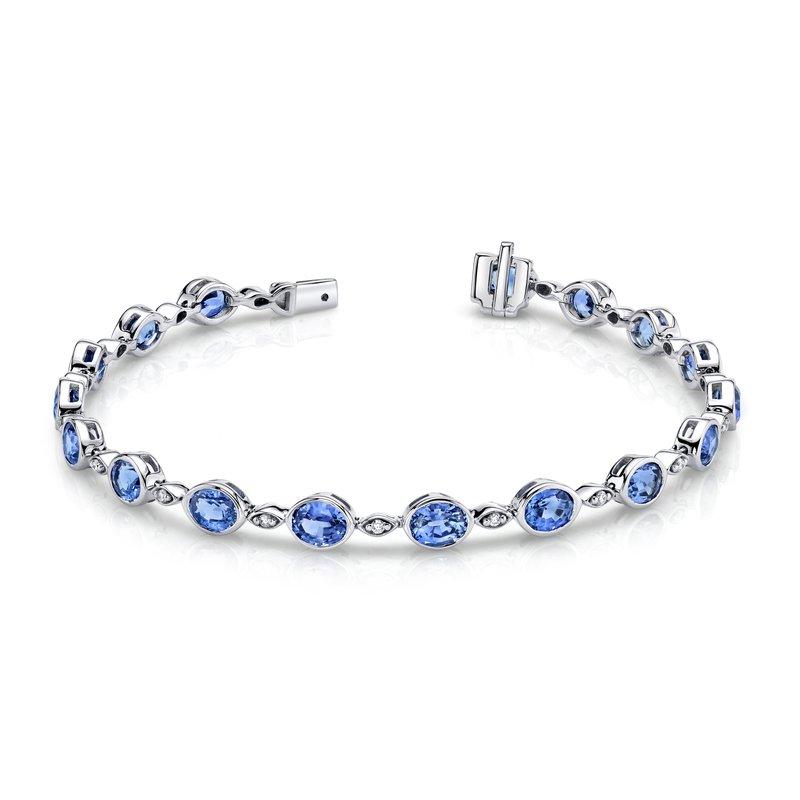 King's Oval Blue Topaz Bezel Set Bracelet