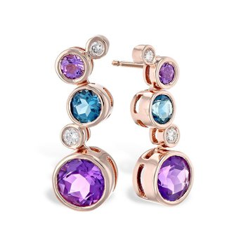 Amethyst, Blue Topaz & Diamond Earrings
