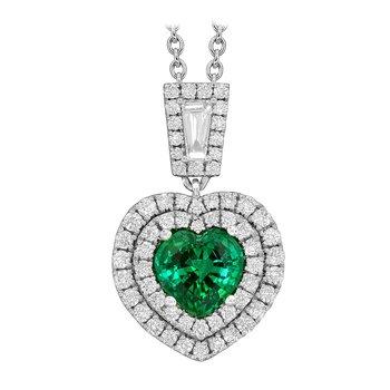 "Emerald Heart Shaped w/Diamonds ""One-of-a-Kind"" Pendant"