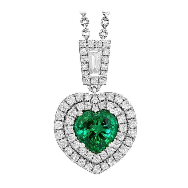 "King's Emerald Heart Shaped w/Diamonds ""One-of-a-Kind"" Pendant"