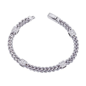 Cable Bracelet with Diamond Spacers