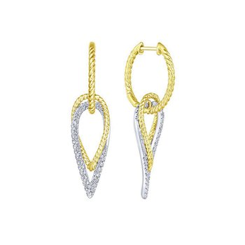 14kt Yel & Wh Gold Diamond Dangle Earrings