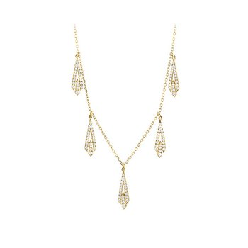 14kt Yel Necklace w/5 Geometric Dangles .45tw